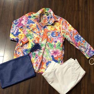 RALPH LAUREN cotton button down shirt floral